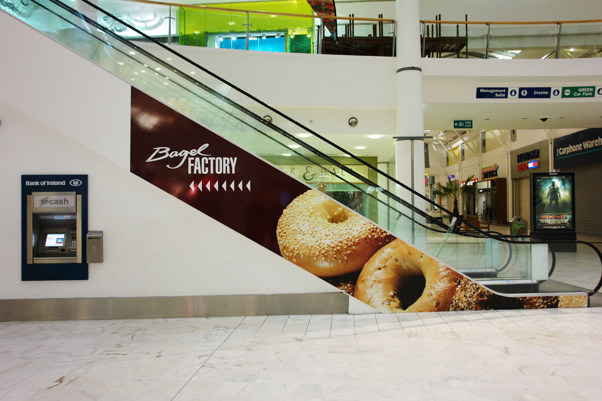 Bagel Factory Liffey Valley Custom Escalator Graphics