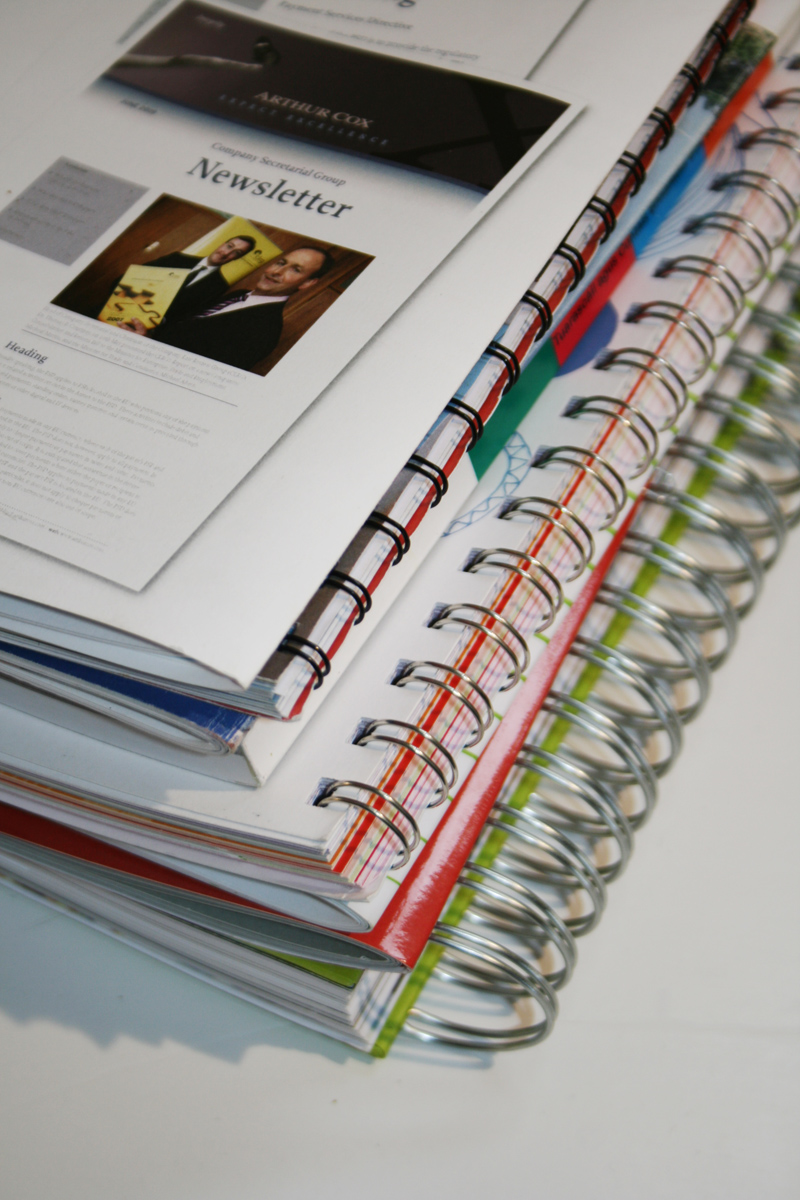 Wire binding for printed reports.