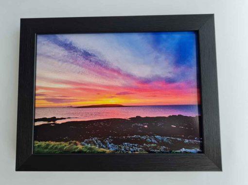 Modern box black frame Skerries sunrise