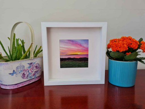 Skerries sunrise shenick square framed picture