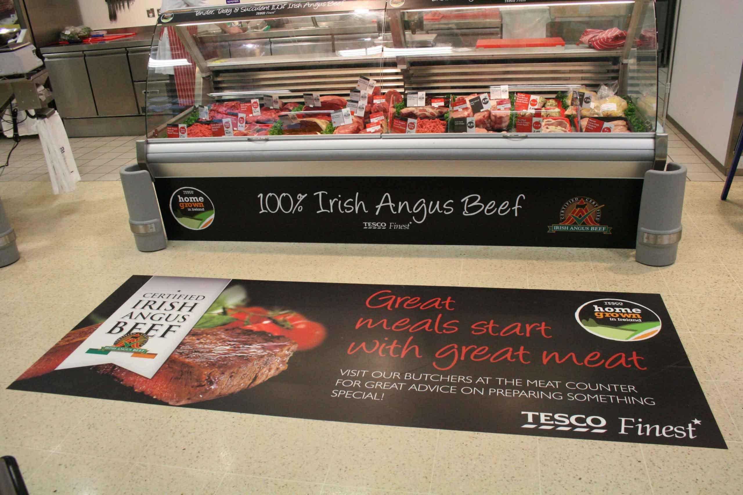 Tesco butchers floor display graphics