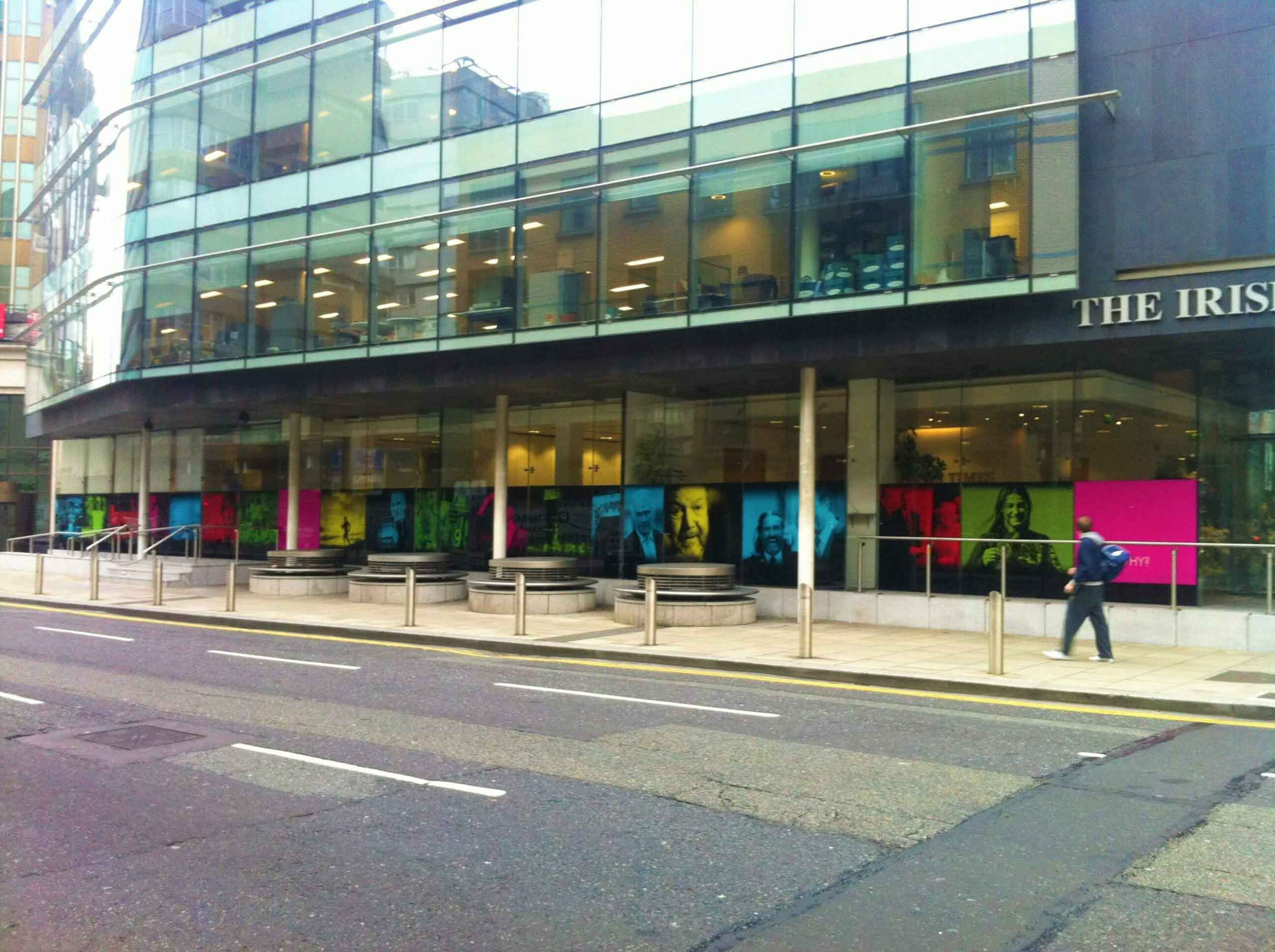 The irish times building dublin city windows display graphics