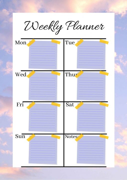 Weekly Planner Sticker A4 removable