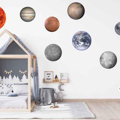 Solar system planets vinyl bedroom wall stickers