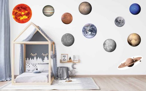 Solar system planets vinyl bedroom wall stickers